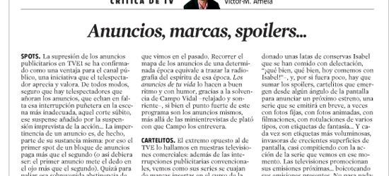 Crítica de tele | Anuncios, marcas, spoilers...
