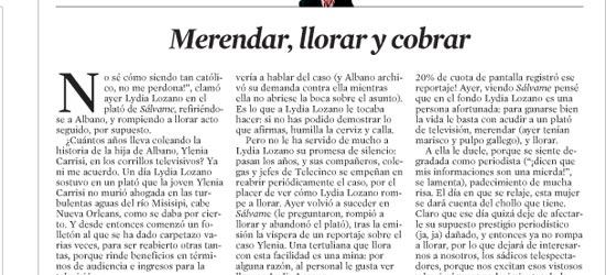 CRÍTICA DE TV | Merendar, llorar y cobrar