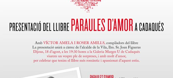 18 d'agost | Presentació a Cadaqués de 'Paraules d'amor' amb Víctor Amela i Roser Amills