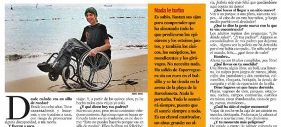 La Contra 19-3-2009 | Albert Casals, viajero en silla de ruedas, sin acompañantes y sin dinero