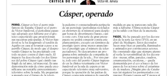 La Vanguardia | CRÍTICA DE TV: Cásper, operado