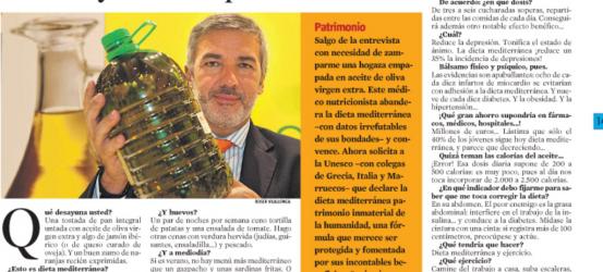 La Contra 14 abril 2010 | Lluís Serra Majem, médico defensor de la dieta mediterránea: 'El aceite de oliva virgen extra tonifica y es antidepresivo'