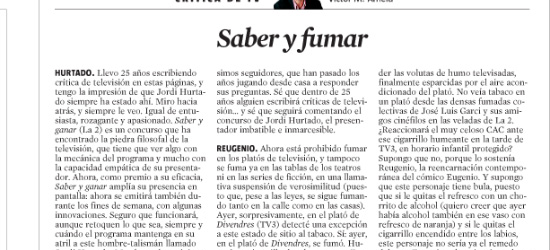 CRÍTICA DE TV | Saber y fumar