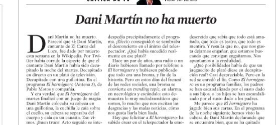 CRÍTICA DE TV | Dani Martín no ha muerto