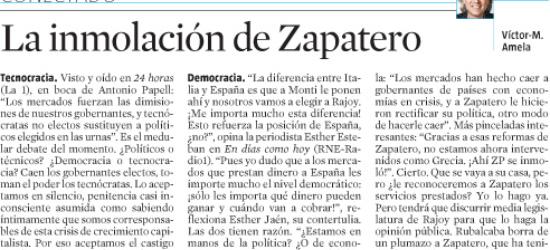 Políticos en los medios: CONECTADO | La inmolación de Zapatero