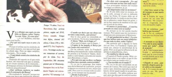 La Contra | Antoni Tàpies, artista pintor y escultor: 'El que no entienda de arte, que calle', 3/3/1998