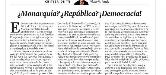 Crítica de TV: '¿Monarquía? ¿República? ¡Democracia!' por Víctor Amela