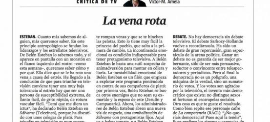 Crítica de TV 4 mayo 2012 | La vena rota