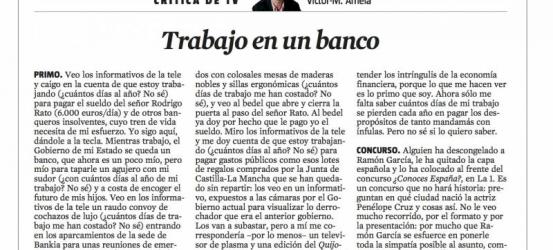 CRÍTICA DE TV 11 de mayo 2012 | Víctor-M. Amela: Trabajo en un banco