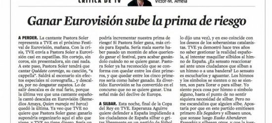 Crítica de TV 25 de mayo 2012 | Ganar Eurovisión sube la prima de riesgo