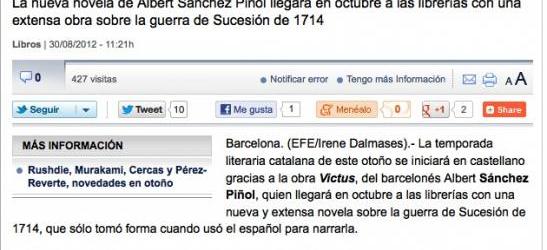 La temporada literaria catalana empieza en castellano a causa de 'Victus'... y muy pronto nuevo libro de Víctor Amela y Roser Amills
