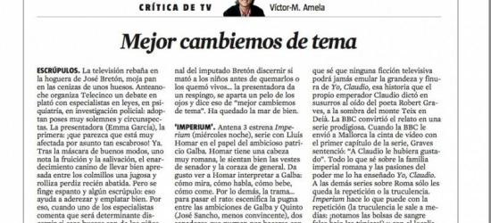 Crítica TV 7-9-2012: 'Mejor cambiemos de tema'