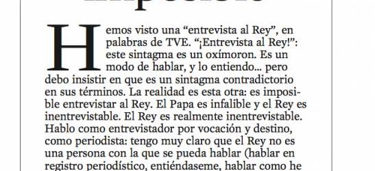 CRÍTICA TV | La Vanguardia 6/1/2013 | Entrevista imposible, por Víctor Amela