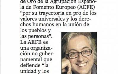 La Vanguardia 20-3-2012 | Cruz Europea de Oro de la AEFE para Víctor Amela