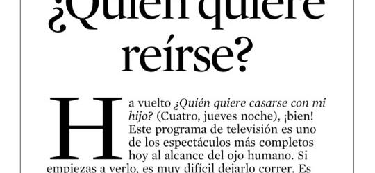 Crítica de TV 23-9-2012 | ¿Quién quiere reírse?