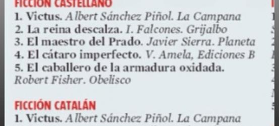 ¿Cuál ha sido la 4ª novela más vendida en castellano este San Jordi? ¡ Mi #cataroimperfecto !