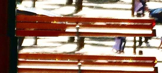 Gotas de lluvia colgantes de un banco difraccionan la luz del sol