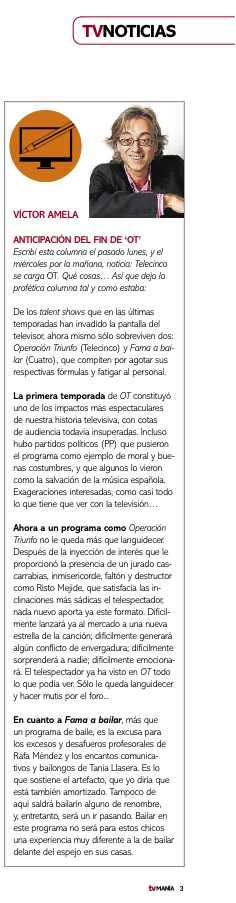 crítica de tele Víctor Amela TVMANIA 16 febrero 2011
