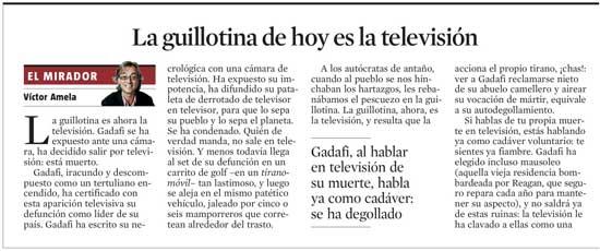 Gadafi, la guillotina de hoy es la televisión