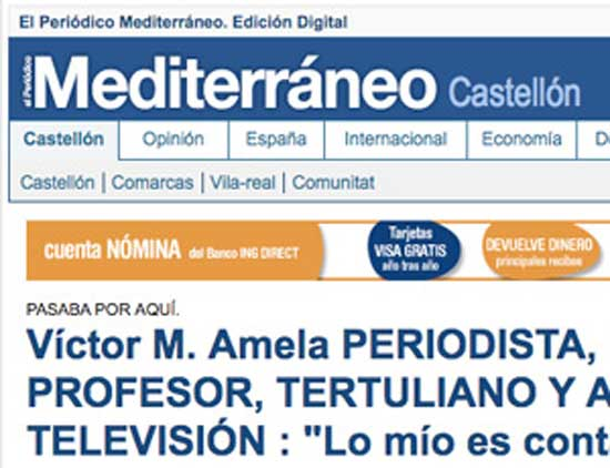 entrevista a Víctor Amela en el Periódico Mediterráneo de Castellón