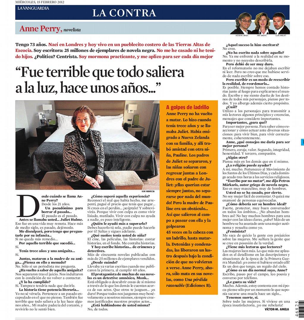 anne perry, entrevistada por Víctor Amela para La Contra de La Vanguardia