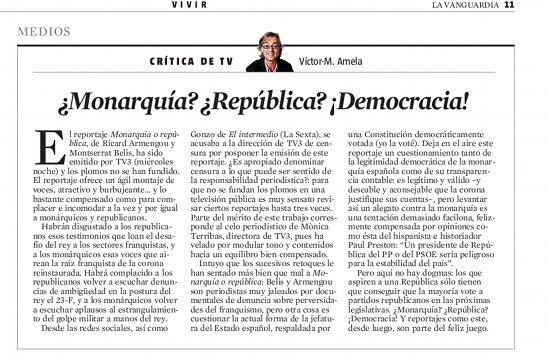 monarquia republica democracia, por victor amela