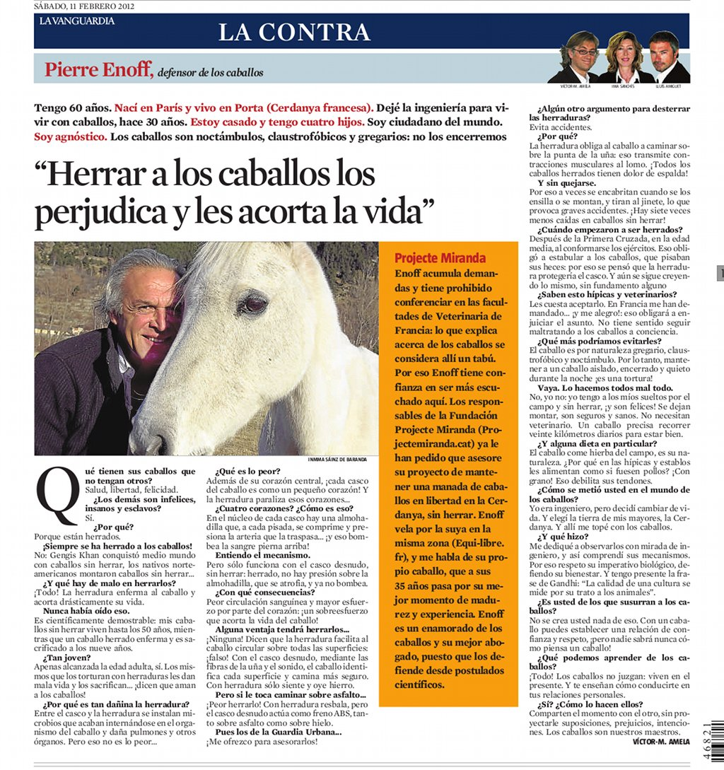 pierre enoff entrevistado por Víctor Amela para La Contra de La Vanguardia