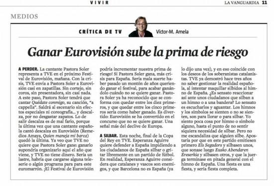 critica tv 25 mayo 2012 por victor amela ganar eurovision