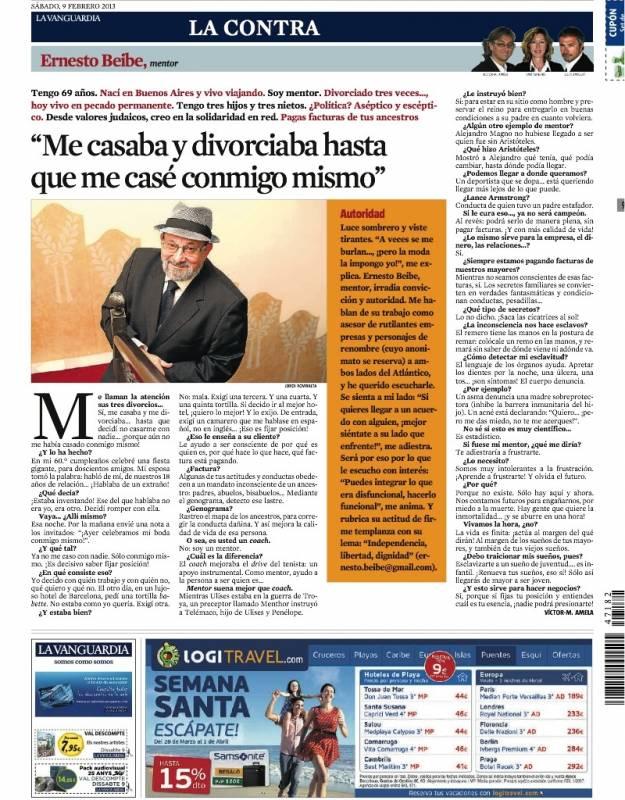 Ernesto Beibe en La contra de La Vanguardia