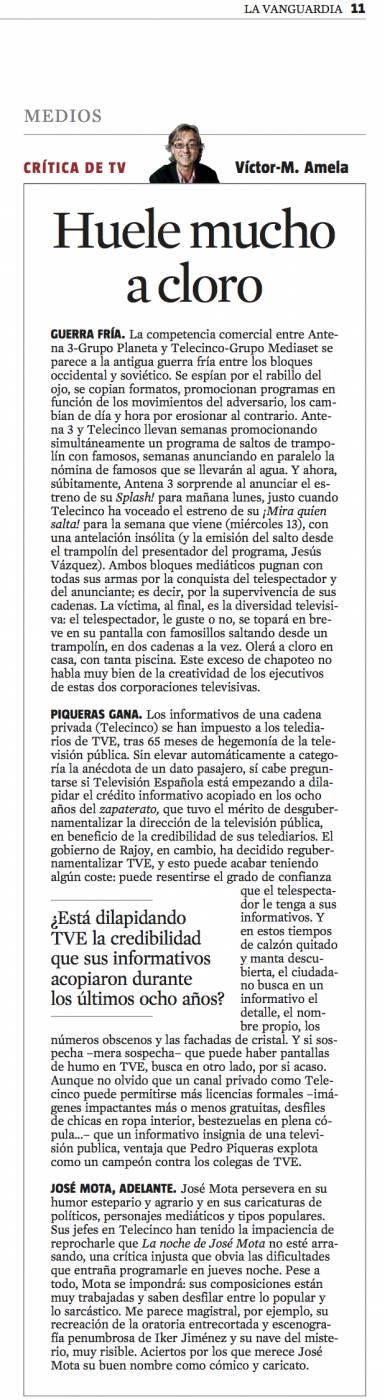 CriticaTV Huele mucho a cloro 3 de marzo 2013