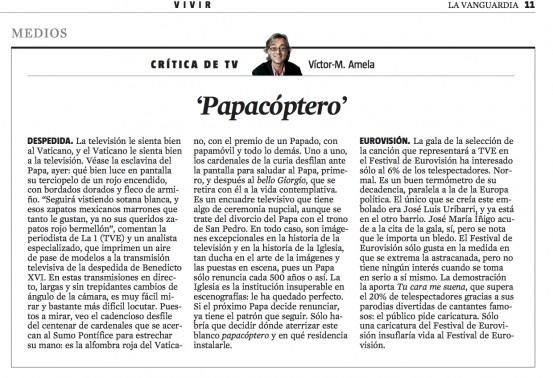 CriticaTV papacoptero 1 de marzo 2013