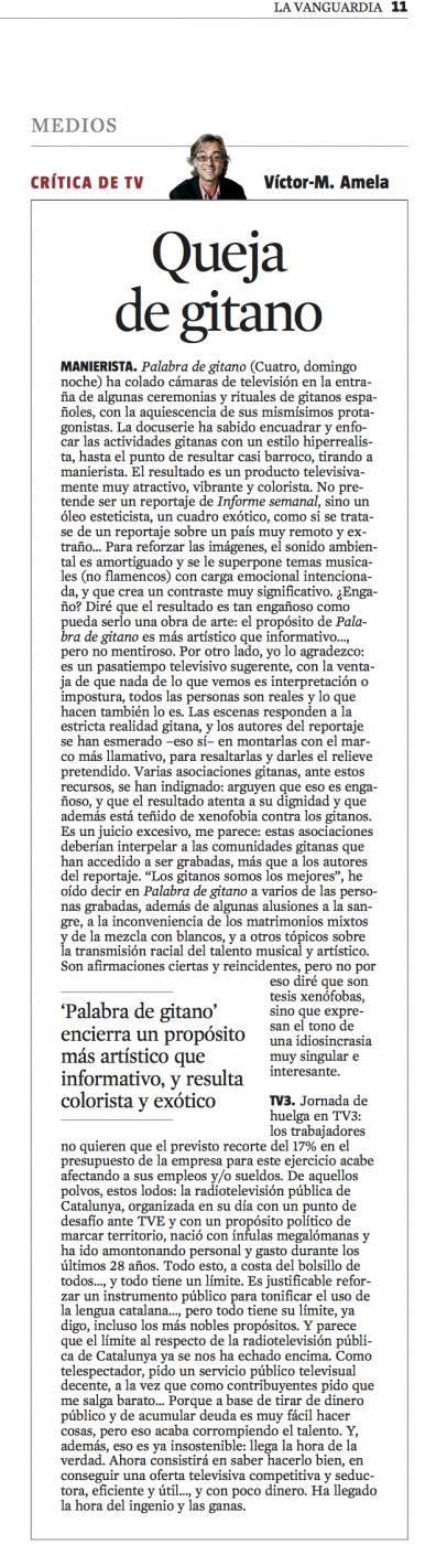 CriticaTV queja de gitano 24 de marzo 2013