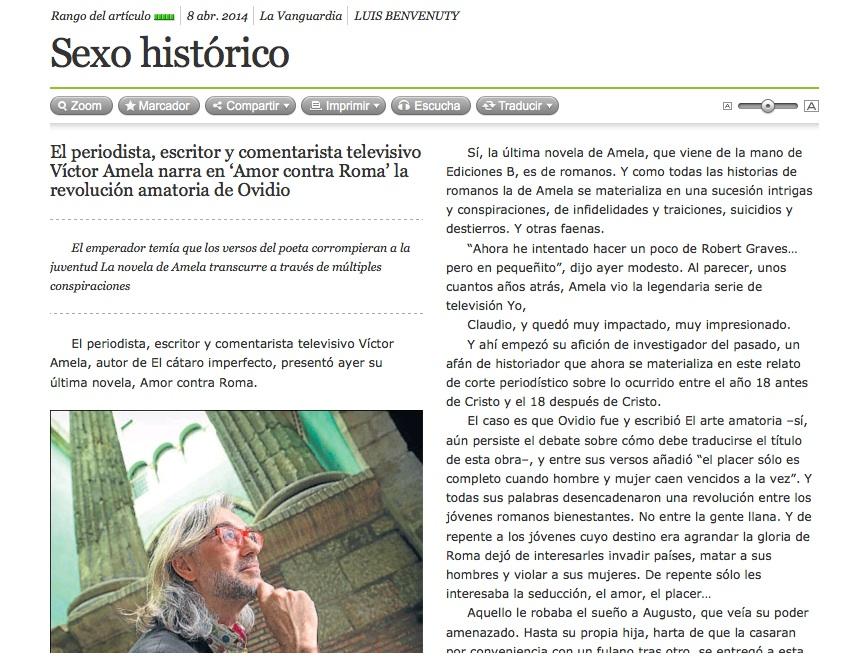 victor amela la vanguardia amor contra roma sexo historico